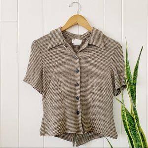 Vintage Tan/Black Grid Button Collared Top